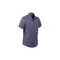Koszula turystyczna krótki rękaw TRAVEL 50 męska. Brązowe koszule męskie QUECHUA, z krótkim rękawem. W wyprzedaży za 19.99 zł.