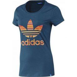 T-shirt Adidas Trefoil F82108. Niebieskie t-shirty damskie Adidas, z bawełny. W wyprzedaży za 69.99 zł.