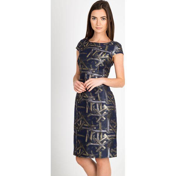 b8a882886b Granatowa sukienka ze złotym wzorem QUIOSQUE - Sukienki damskie ...