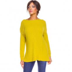 """Sweter """"Louina"""" w kolorze żółtym. Żółte swetry damskie So Cachemire, z kaszmiru, z dekoltem w łódkę. W wyprzedaży za 173.95 zł."""