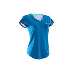 Koszulka fitness cardio 500. Niebieskie koszulki sportowe damskie DOMYOS, z klasycznym kołnierzykiem. Za 39.99 zł.