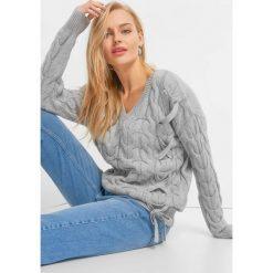 Sweter z warkoczami i wiązaniem. Szare swetry damskie Orsay, z dzianiny, ze sznurowanym dekoltem. Za 119.99 zł.