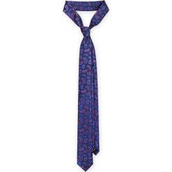 Krawat Granatowy Paisley. Niebieskie krawaty i muchy LANCERTO, paisley, z mikrofibry, eleganckie. Za 79.90 zł.