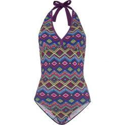 Kostium kąpielowy bonprix jeżynowy z nadrukiem. Fioletowe kostiumy jednoczęściowe damskie bonprix, z nadrukiem. Za 129.99 zł.