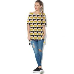 Colour Pleasure Koszulka CP-033  21 biało-czarno-musztardowa r. uniwersalny. Bluzki damskie marki Colour Pleasure. Za 76.57 zł.