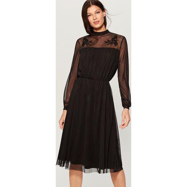 1f8833fe681ee3 Sukienka z kwiatowym haftem - Czarny - Czarne sukienki damskie ...