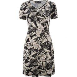 Sukienka shirtowa ze stretchem, w kwiatowy deseń bonprix czarny z nadrukiem. Sukienki damskie marki DOMYOS. Za 37.99 zł.