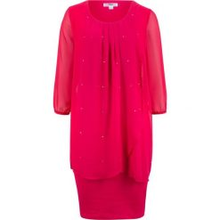 Sukienka shirtowa z szyfonową wstawką, rękawy 3/4 bonprix czerwień granatu. Czerwone sukienki damskie bonprix, z szyfonu. Za 129.99 zł.