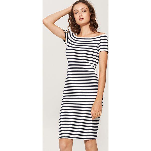 0785ed11f0 Dzianinowa sukienka z krótkim rękawem - Wielobarwn - Szare sukienki ...