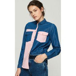 Koszula z łączonych materiałów - Niebieski. Niebieskie koszule damskie Sinsay, z materiału. Za 79.99 zł.