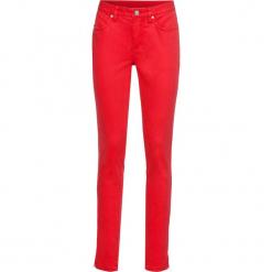 Spodnie ze stretchem SKINNY bonprix truskawkowy. Czerwone spodnie materiałowe damskie bonprix. Za 59.99 zł.