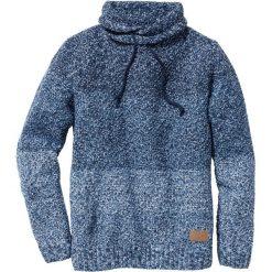 Sweter z szalowym kołnierzem Slim Fit bonprix niebieski melanż. Swetry przez głowę męskie marki Giacomo Conti. Za 69.99 zł.