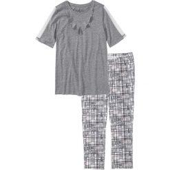 Piżama z legginsami 3/4 bonprix szary melanż wzorzysty. Piżamy damskie marki bonprix. Za 69.99 zł.