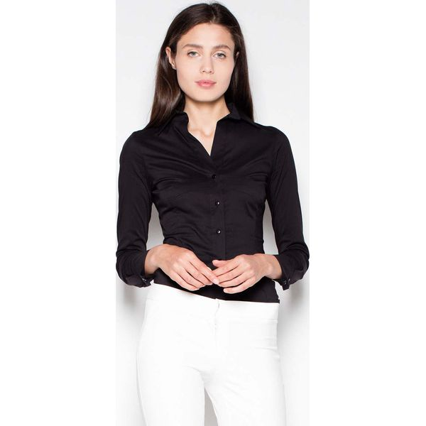 Czarna Koszula Damska z Suwakami na Rękawach Czarne