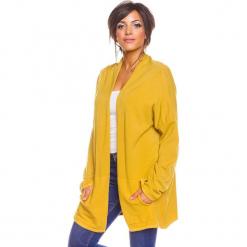 """Kardigan """"Rico"""" w kolorze żółtym. Żółte kardigany damskie So Cachemire, z kaszmiru. W wyprzedaży za 173.95 zł."""