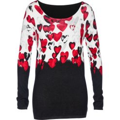 Sweter bonprix czarno-czerwony z nadrukiem. Swetry damskie marki KALENJI. Za 109.99 zł.