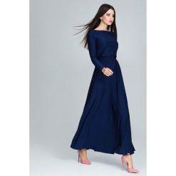 Długsa sukienka maxi m604. Niebieskie sukienki damskie Global, eleganckie, z długim rękawem. Za 179.00 zł.