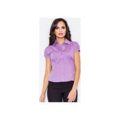 Koszula M026 Fiolet. Fioletowe koszule damskie Figl, z bawełny, klasyczne, z klasycznym kołnierzykiem, z krótkim rękawem. Za 73.00 zł.