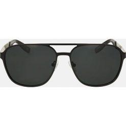 Czarne okulary przeciwsłoneczne. Czarne okulary przeciwsłoneczne męskie Kazar, z lakierowanej skóry. Za 349.00 zł.