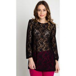 Czarna przeźroczysta bluzka z motywem kwiatowym BIALCON. Czarne bluzki damskie BIALCON, z koronki, wizytowe, z długim rękawem. W wyprzedaży za 54.00 zł.