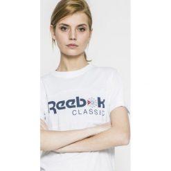 Reebok Classic - Top. Szare topy damskie Reebok Classic, z nadrukiem, z bawełny, z okrągłym kołnierzem, z krótkim rękawem. W wyprzedaży za 69.90 zł.