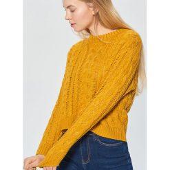 Sweter z ozdobnym splotem - Żółty. Swetry damskie marki bonprix. Za 99.99 zł.