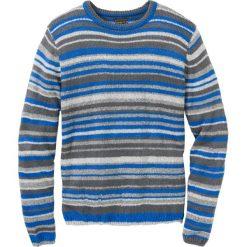 Sweter z dzianiny o splocie dużych oczek  Regular Fit bonprix szaro-niebieski w paski. Swetry przez głowę męskie marki Giacomo Conti. Za 99.99 zł.