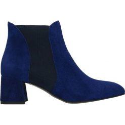 Sztyblety HIROMI. Niebieskie botki damskie Gino Rossi, ze skóry, eleganckie. W wyprzedaży za 349.90 zł.