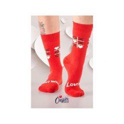Skarpety MIŁOŚĆ. Czerwone skarpety damskie Wolne skarpetki, w kolorowe wzory. Za 12.00 zł.