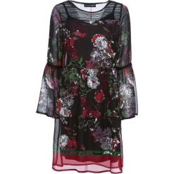 Sukienka bonprix czarny z nadrukiem. Czarne sukienki damskie bonprix, z nadrukiem, z materiału, boho, z okrągłym kołnierzem, z długim rękawem. Za 129.99 zł.