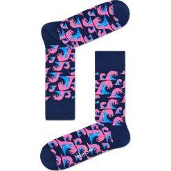 Happy Socks - Skarpety Wave. Niebieskie skarpety męskie Happy Socks, z bawełny. W wyprzedaży za 27.90 zł.