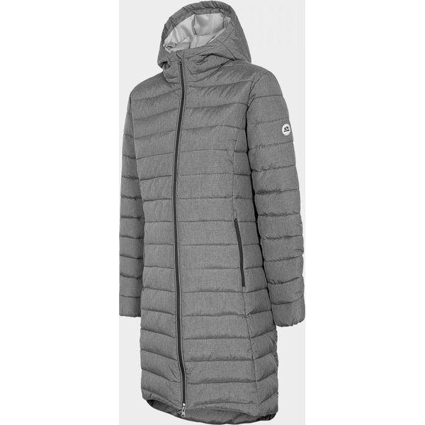 Płaszcz puchowy damski KUD704 chłodny jasny szary melanż Outhorn