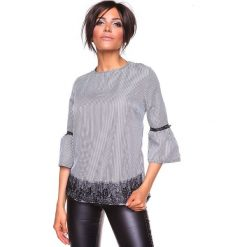 """Koszulka """"Kelly"""" w kolorze czarno-białym. Bluzki damskie La Belle Française, w paski, z okrągłym kołnierzem. W wyprzedaży za 152.95 zł."""
