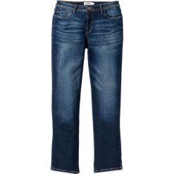 """Dżinsy """"power-stretch"""" ze specjalnym krojem talii bonprix ciemnoniebieski """"used"""". Niebieskie jeansy męskie bonprix. Za 109.99 zł."""