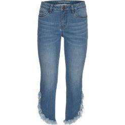 """Dżinsy z frędzlami, krótsze nogawki bonprix niebieski """"stone"""". Jeansy damskie marki bonprix. Za 109.99 zł."""