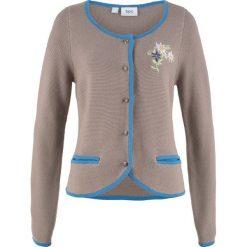 Sweter rozpinany w ludowym stylu, z haftem, długi rękaw bonprix brunatno-niebieski. Kardigany damskie marki bonprix. Za 59.99 zł.