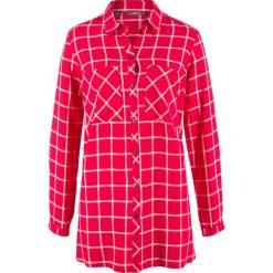 Długa tunika, szeroki fason bonprix czerwono-biały w kratę. Tuniki damskie marki bonprix. Za 37.99 zł.