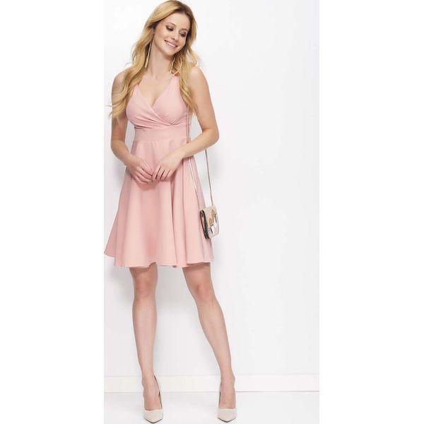 9cba27607414b Różowa Sukienka Rozkloszowana z Kopertowym Dekoltem - Sukienki ...