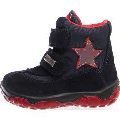 """Botki zimowe """"Free"""" w kolorze granatowo-czerwonym. Botki dziewczęce marki Geox. W wyprzedaży za 195.95 zł."""