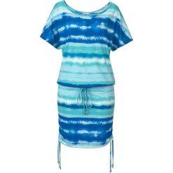 Sukienka shirtowa z wiązanymi paskami, krótki rękaw bonprix niebieski wzorzysty. Niebieskie sukienki damskie bonprix, w paski, z krótkim rękawem. Za 79.99 zł.