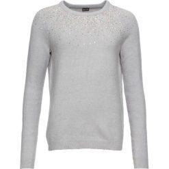 Sweter z kamieniami bonprix szary melanż. Swetry damskie marki bonprix. Za 74.99 zł.