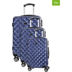 Zestaw walizek w kolorze granatowym - 3 szt. Walizki męskie Platinium, z materiału. W wyprzedaży za 649.95 zł.