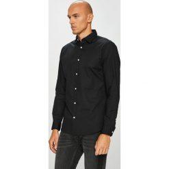 Jack & Jones - Koszula. Czarne koszule męskie Jack & Jones, z bawełny, z klasycznym kołnierzykiem, z długim rękawem. W wyprzedaży za 89.90 zł.
