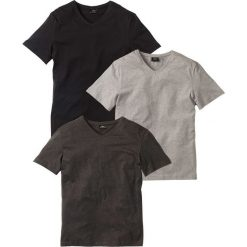 T-shirt z dekoltem w serek (3 szt.) Regular Fit bonprix antracytowy melanż + jasnoszary melanż + czarny. Czarne t-shirty męskie bonprix, melanż, z dekoltem w serek. Za 74.97 zł.