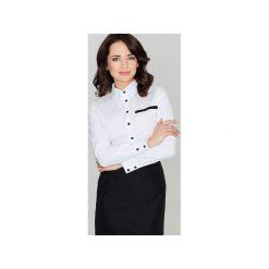 Koszula K033 Biały. Białe koszule damskie Lenitif, z kontrastowym kołnierzykiem. Za 89.00 zł.
