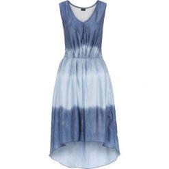 Sukienka z materiału w optyce jedwabiu bonprix niebiesko-jasnoniebieski. Niebieskie sukienki damskie bonprix, z dekoltem w serek. Za 69.99 zł.