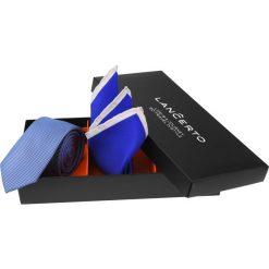 Zestaw Krawat plus Poszetka. Niebieskie krawaty i muchy LANCERTO, w geometryczne wzory, biznesowe. Za 149.90 zł.