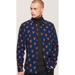 Koszula w liski - Granatowy. Niebieskie koszule męskie House. Za 89.99 zł.