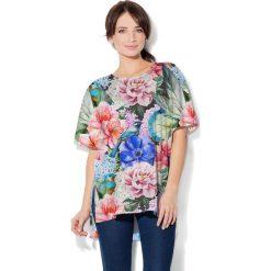 Colour Pleasure Koszulka CP-033  191 niebiesko-zielono-pudrowy róż r. uniwersalny. Bluzki damskie Colour Pleasure. Za 76.57 zł.