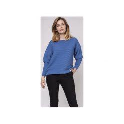 Sweter z fakturą, SWE160 niebieski MKM. Niebieskie swetry damskie Mkm swetry, z dzianiny, z dekoltem w łódkę. Za 118.00 zł.